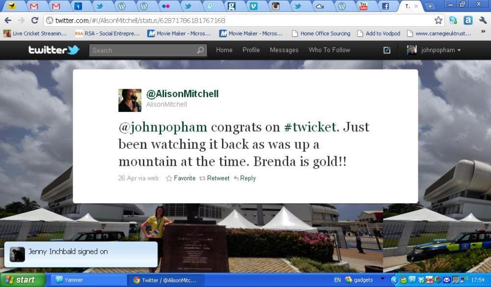 Alison Mitchell Tweet
