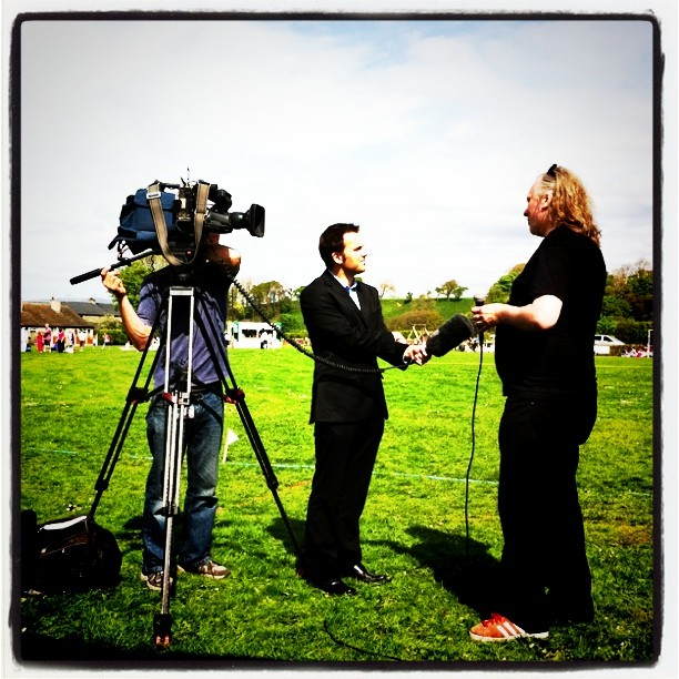 Me being interviewed by BBC North West Tonight at the #twicket match